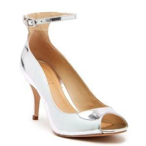 SCHUTZ Liffa Mirrored-Leather Ankle Strap Heels